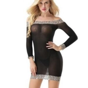 Dresses & Skirts - Off Shoulder Seethrough dress w/ leopard print NWT